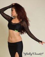 【Polina】ブラックメッシュがさらにセクシー!体のラインを美しく見せるトップス&ロングスカートの2点セット