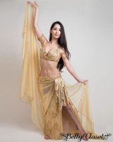 【Eman Zaki】オーダーメイド まばゆいゴールド☆ラップ巻きスカートの下には流行レース生地にたっぷりストーン装飾!