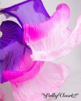 【シルクファンベール】 2本セット両手用 グラデーション  パープル〜ピンク〜ライトピンク