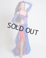 【Polina】ロイヤルブルーのニットレースワンピーススタイルコスチューム 真紅のサテンが効いてさらにセクシーなオリエンタル衣装