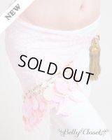 【ヒップスカーフ】 ベビーピンクレース シェルモチーフプラスチックコイン  〔レターパックライト360円OK〕