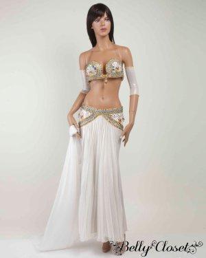 画像1: 【Eman Zaki】オーダーメイド 珍しいプリーツタイプのスカート&色とりどりのビジューがアラビアンな雰囲気