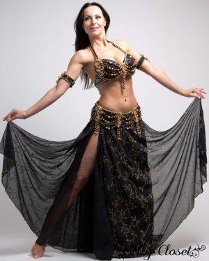 画像1: 【Hoda Zaki】オーダーメイド クレオパトラスタイル★黒いダブルシフォンに金の刺繍が女王の風格