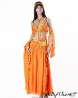 【Bella】オーダーメイド 鮮やかなオレンジと2色のフリンジビーズがダンサーも観客も明るい気分に♪