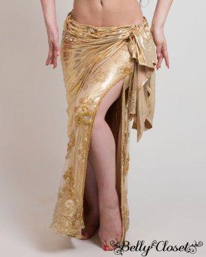 画像4: 【Eman Zaki】オーダーメイド まばゆいゴールド☆ラップ巻きスカートの下には流行レース生地にたっぷりストーン装飾!