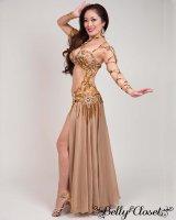 【Bella】オーダーメイド 総ビーズ装飾が豪華! 光沢のあるベージュゴールドのブラスカート一体型コスチューム