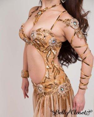 画像2: 【Bella】オーダーメイド 総ビーズ装飾が豪華! 光沢のあるベージュゴールドのブラスカート一体型コスチューム