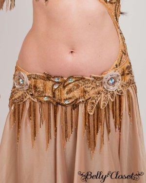 画像4: 【Bella】オーダーメイド 総ビーズ装飾が豪華! 光沢のあるベージュゴールドのブラスカート一体型コスチューム