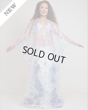 画像1: 【Hanan】ハリージドレス 透け感とシルバーのきらめきが美しいハナンのハリージドレス 袖口の波打つカットが印象的