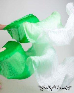 画像1: 【シルクファンベール】 2本セット両手用 グラデーション  グリーン〜ホワイト